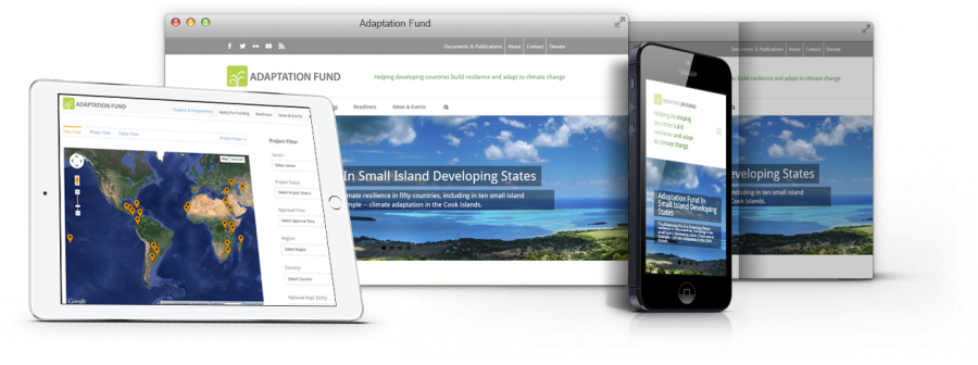 adaptation-fund.org website being responsively displayed in mu